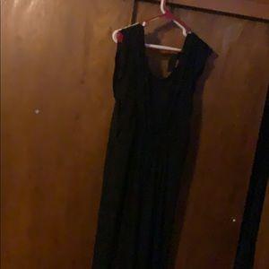 Black wide leg pant suit